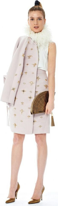 Kate Spade. Fan clutch, ostrich feather collar, embellished matching suit. Yes, please!