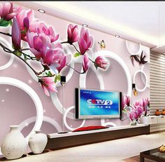 New large wallpaper Custom wallpaper Purple magnolia 3D TV backdrop 3D mural wall paper papel de parede wall stickers9227266 liv