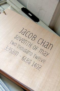 "Baby Album / Scrapbook / Memory book (9"" x 6"") - Wood Album - Custom Name, Birth Date, Birth Stats"