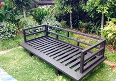 Inspired by the New Zealand Handyman Dec 2014 issue, reader Siobhan Lenehan built the day bed that was featured on the cover. Handyman Magazine, Outdoor Entertaining, Daybed, Porch Swing, Outdoor Furniture, Outdoor Decor, Garden Bridge, Deck, Outdoor Structures