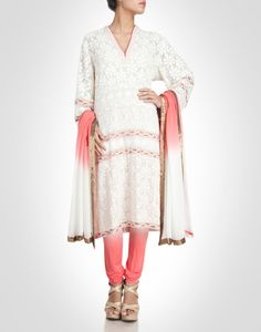 White georgette suit crafted with chikankari. Shop Now: www.kimaya.in