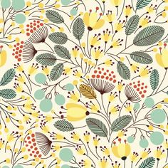 Gardening Autumn - merry garden (Univers Mininga) - With the arrival of rains and falling temperatures autumn is a perfect opportunity to make new plantations Pretty Patterns, Flower Patterns, Surface Pattern Design, Pattern Art, Nature Pattern, Yellow Pattern, Vector Pattern, Stoff Design, Retro Floral