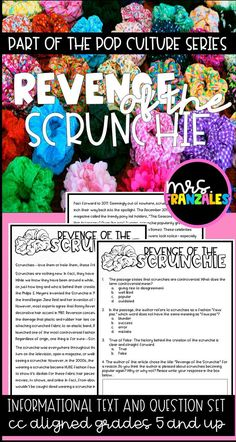 Scrunchie High Interest CC grade and up Informational Text Pop Culture Series Reading Comprehension Close Reading Test Prep Upper Elementary Middle Grades VSCO 6th Grade Ela, 6th Grade Reading, Reading Test, Ninth Grade, Seventh Grade, Reading Passages, Reading Comprehension, Close Reading Lessons, Vsco