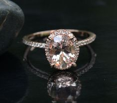 14k Rose Gold 9x7mm Morganite Oval and Diamonds Wedding or Engagement Ring (Choose color and size options at checkout)