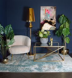 How To Care For Velvet Furniture. Eclectic living room with dark navy walls and blush pink velvet chair. We've put together a selection of tips on how to care for velvet furniture that will keep it looking its best for years to come. Blush Living Room, Copper Living Room, Navy Living Rooms, Living Room Themes, Eclectic Living Room, My Living Room, Living Room Chairs, Living Room Furniture, Living Room Designs