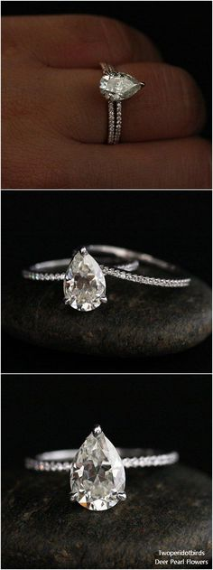 9x6mm Pear Moissanite Ring Brilliant Moissanite Engagement Ring #weddingideas #rings #weddings ❤️ http://www.deerpearlflowers.com/engagement-rings-from-twoperidotbirds/