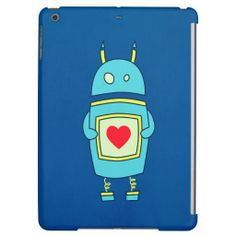 Blue Cute Clumsy Robot With Heart iPad Air Case - $52.95 - Cute robot iPad Air case with a cartoon illustration of a blue clumsy cartoon #robot holding a plate with a heart on dark blue background. This cute #iPad Air #case is suitable for kids and geeks who love robots and cute illustrations. #ipadair