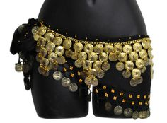 Belly Dance Coin Hip Scarf with Attached Belt - PYRAMIDS