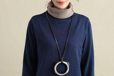 Women Autumn Winter Mock Neck Long Sleeve Blouse Shirt
