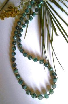 """20"""" FACETED EMERALD GREEN BEADED NECKLACE £ 8.50 - Creative Connections"""