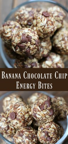 Banana Chocolate Chip Energy Bites. Healthy no bake snack recipe.