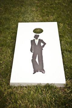 Cornhole Groom's Silhouette ~ pretty snazzy guy! Photography by cmcdadephotography.com