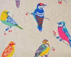 Wunderschöner Leinen- Baumwollstoff von Etsuko Furuya für KOKKA mit bunten Vögeln auf naturfarbenem Hintergrund...  Toll für Decken, Kissen, Taschen, Vorhänge, Tischdecken uvm...