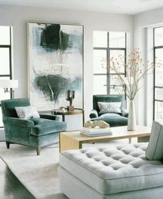 Teal and white living room