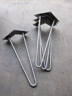 brushed stainless steel hairpin legs