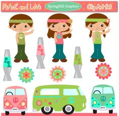 Instant Download Peace and Love Digital Clip Art Web Design, Card Making, Scrapbooking - Personal and Commerical Use