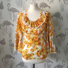 Vintage 60s blouse, retro orange print, scooter style, original 1960s mod floral top, mad men style by TheVintageFlea29 on Etsy