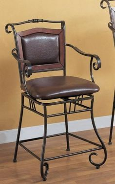 H Scroll motif bar stool in metal finish by Coaster Home Furnishings