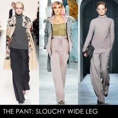 When you aren't wearing knit trousers (which will be rare) you should be sauntering around in a pair of louche, widelegged slouchy pants. Pair them with an equally roomy sweater, or highlight your waist by tucking in a filmy blouse. Either way, you'll look effortless alongside the skinny jean crowd.