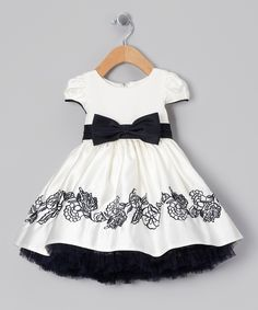 Ivory & Navy Bow Embroidered Dress - Infant, Toddler & Girls