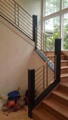 interior railing done by Custom Iron Craft Inc. Handicap Ramps, Balcony Railing, Fence Gate, Stairs, Iron, Windows, Craft, Interior, Furniture