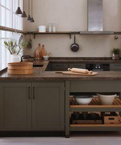 CC kitchen by Kvänum Earthy Kitchen, Olive Green Kitchen, New Kitchen, Kitchen Dining, Kitchen Decor, Green Kitchen Cabinets, Kitchen Tiles, Kitchen Room Design, Kitchen Interior