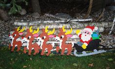 Vintage Santa with Reindeer Popcorn Plastics by ChristmasVintage, $64.00
