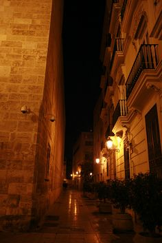 Valencia at night- lots of soft yellow light. (Thank you Kelly from Shanghai) Travel Around The World, Around The Worlds, Valence, Street Lights, Night Lights, Photography Photos, Shanghai, Places Ive Been, Lamps