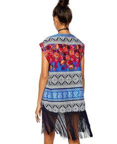 Designer Ethnic Style Retro Chiffon Blouses Tassel Print Mode Sleeveless Shirt Cardigan Kimono Cover Ups