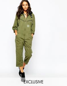 Story Of Lola Utility Flight Jumpsuit With Faux Fur Collar