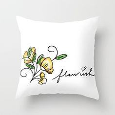 flourish Throw Pillow by kcdoodleart - $20.00