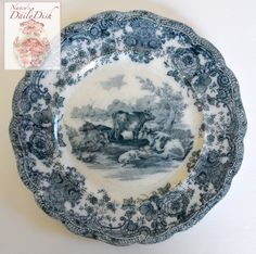 Antique Grazing Cattle Cows Plate Teal Blue Transferware Staffordshire