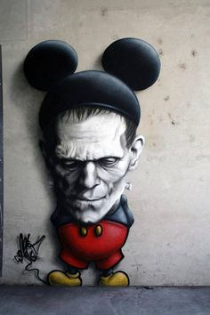 #StreetArt Evil mickey mouse! Not sure who the artist is but this shit is dark! #UrbanArt