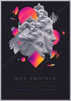 vaporwave collage Not Another Launch Party Flyer Artwork on Behance More - Justin Wynn - Poster Flugblatt Design, Sound Design, Layout Design, Design Food, Design Ideas, Design Tutorials, Interior Design, Blond Amsterdam, Amsterdam Party
