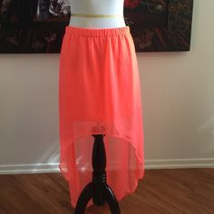 Express Neon bright orange hi-low skirt Beautiful Express hi low skirt. Bright orange and super cute! Express Skirts High Low