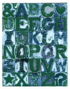 Items similar to Grunge Alphabet II - mounted contemporary abstract signed Original Collagraph hand pulled print on Etsy