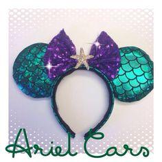 Ariel Minnie Ears by yosabrinamarie on Etsy… Disney Ears Headband, Diy Disney Ears, Disney Headbands, Disney Mickey Ears, Disney Diy, Disney Crafts, Cute Disney, Disney Trips, Disneyland Ears