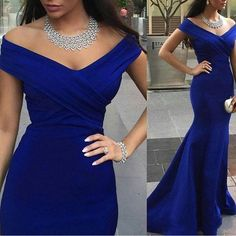 V Neck Blue Mermaid Bridesmaid Dress,Floor Length Sleeveless Satin Bridesmaid Dresses, Long Elegant Prom Dresses Party Evening Gown
