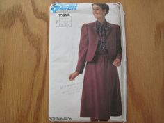 Super Saver Uncut Skirt and Lined Jacket Pattern 7614 in Sizes 10-12-14. This sewing pattern includes a skirt with a back zipper and yoke