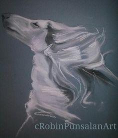 'Snow' Jorogz Adorah Snowtharra. Afghan Hound Art by Robin Punsalan