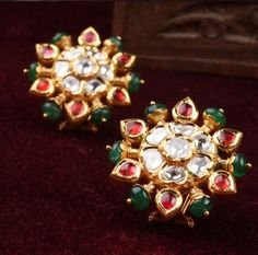 Handcrafted Luxury From Jaipur A luxury brand that meticulous artistry through timeless jewels and accessories. Gold Jhumka Earrings, Gold Earrings Designs, Indian Earrings, Necklace Designs, 18k Gold Jewelry, Antique Jewelry, Beaded Jewelry, Jewelery, Indian Jewellery Design