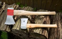 "Swiss Axe & Hatchet Set - The axe measures a compact 23"", so it's easier to transport than a full-length axe, but at 4-3/4 lb, it has the heft needed for splitting. The broad, wedge-shaped head has a 4-1/2"" face and a flat poll. The stout, unfinished ash handle is 2-1/2"" thick at the shoulder for reinforcement. 15-1/2"" long, 2-1/4 lb hatchet. With a slim, gently concave profile suitable for splitting kindling and cutting saplings. $49.50"