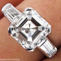 GIA 2.58ct Antique Vintage Art Deco Asscher Square Emerald Cut Diamond Engagement Wedding Ring Platinum