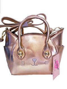 765ee55d0b05 Rose Gold Cat Handbag by Luv Betsey Johnson that can be worn cross body.  Includes exterior and interior pockets