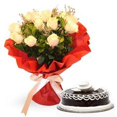 Chocolate Cake with Yellow Roses
