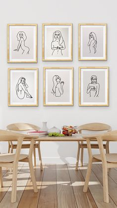 Beautiful Neutral minimalist artwork set of six for stunning simple interior natural wood by Coris Evans. Visit her Etsy shop for the whole collection Minimalist Dining Room, Minimalist Artwork, Modern Minimalist, Nude Portrait, Portrait Paintings, Female Portrait, Positive Art, Body Positive, Different Forms Of Art