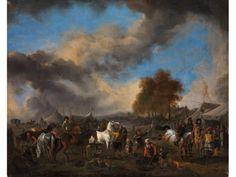 "Philips Wouwerman, - 1619 Haarlem - 1668, Werkstatt - SCHIMMEL IN EINEM HEERLAGER[...], mis en vente lors de la vente ""Catalogue 3 - Maîtres anciens"" à Hampel Fine Art Auctions | Auction.fr"