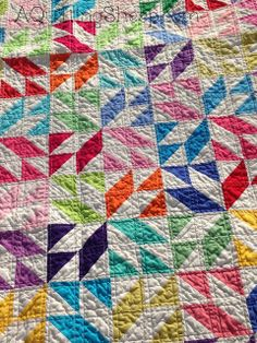 By A Quilting Sheep; quilt in Kona solids using a great time saving trick to make the HST
