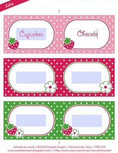 Strawberry Party:  These printables can be used as place cards, gift tags, jar labels, buffet labels, little flags, etc.