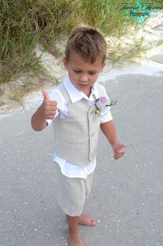 BEACH WEDDING ♡ Little Ring bearer to match the Groom!